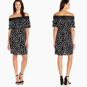NWT MSK CROCHET OFF THE SHOULDER POLKA DOT DRESS